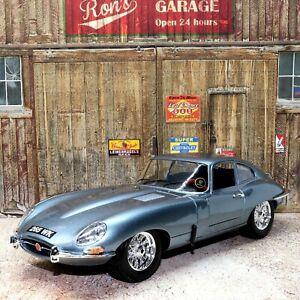 Jaguar E Type Coupe Opalescent Silver Blue 1:18 Scale Die-cast Model Toy Car