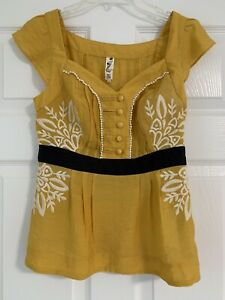Anthropologie Floreat Yellow Embroidered  Shimmery Top Size 0