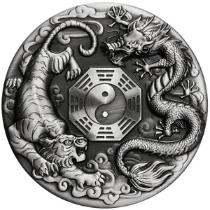 Tuvalu 2021 Dragon & Tiger Bagua $2 Oz Silver High Relief Antiqued—SERIAL # 118