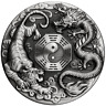 Tuvalu 2021 Dragon & Tiger Bagua $2 Oz Pure Silver High Relief Antiqued Piedfort