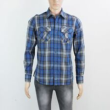 NEW Duck & Cover Mens Size S Blue Check Long Sleeve Shirt