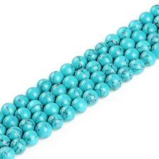 130 Türkis Perlen 12mm Blau Rund Edelstein Schmuckstein Natur 4 Strange G569#4