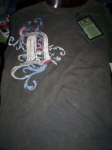 NWT! Do Denim Men's T Shirt HEAVY EMBROIDERY! BROWN-XL -LARGE