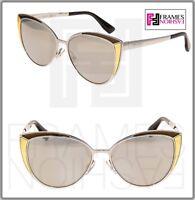 JIMMY CHOO DOMI Palladium Mirrored Bronze Leather Cat Eye Metal Sunglasses
