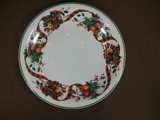 William James Stoneware Holiday Dinner Plate Fruit Plaid Ribbon Green Stripe