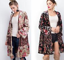 S M L EASEL Women's Floral Velvet Cardigan Sweater Long Kimono Sleeves Open