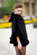 Real Knit Mink Fur Poncho Hooded Stole Cape Scarf Shawl fur Coat Classic Black