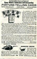 1929 small Print Ad of Gypsy Witch's Fortune Telling Cards & Running Mouse Toy