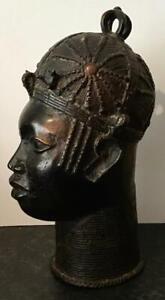 Original BENIN BRONZE FEMALE BUST High Quality Large Nigerian Ladies Head