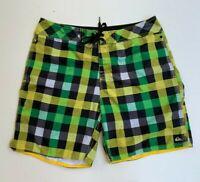 QUIKSILVER men's green yellow check board surf beach casual shorts size 34