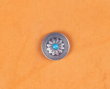 10PC 25X25MM Vintage Silver Sun Flower Turquoise Rope Screwback Tack Conchos Set