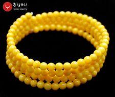 4-5mm Round Yellow Shell Pearl Steel Wire Wrap Bracelet for Women Jewelry bra444