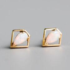 Geometric Art Pear Natural Australian Solid Opal Stud Earrings 14k Yellow Gold