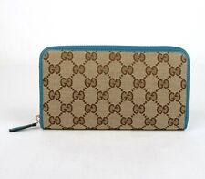 Gucci Beige Original GG Canvas with Leather Trim Zip Around Wallet 363423 8616