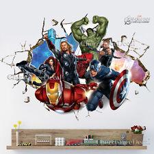 Super Hero Avengers Wall Crack Decal Sticker Boys Bedroom Decor Art Hulk Ironman
