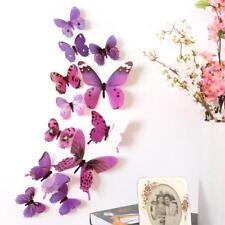 12 x 3D Set Schmetterling Wandtattoo Deko Wandaufkleber lila Aufkleber violett