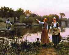 Water Carriers by D R Knight 8x10  Art Print Girls River Country Life Work 177