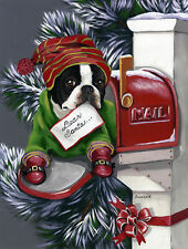 "Precious Pets Garden Flag - Boston Terrier Letter to Santa 12"" x 18"" ~ Charity!"