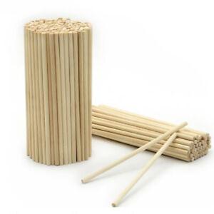 50Pcs Blank Wooden Sticks Round Rods Dowel DIY Crafts Kids Supply 100/150/200mm