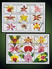 1995 NICARAGUA FLOWERS ORCHIDS MILTASSIA ODONTOGROSSA MACULATUM ST.2139 -2140