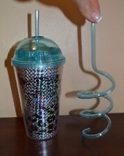 Cheetah Leopard Insulated Cold Beverage Travel Cup with Lid & Crazy Loop Straw
