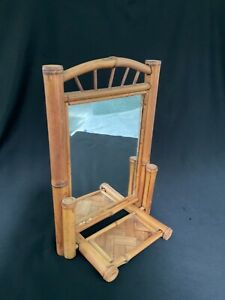 Vintage French Country Bamboo, Rattan & Wood foldable Table Mirror
