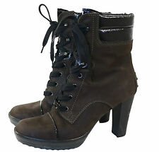 Tods Ankle Boots Lace Up Nubuck Leather Heeled  EU-39.5  UK- 6.5