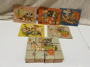 Vintage Wooden Block Kitsch Puzzle 70's Stories X 5 Pictures