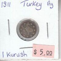 Turkey 1 Kurush 1911 Silver Circulated