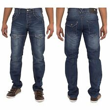 New Mens Enzo 260 Designer Straight Leg Jeans Dark Wash Blue Pants Pockets 34R
