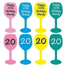 Personalised Table Confetti, Wine Glass, Any Birthday Wording Front, Age on Back