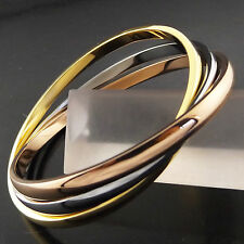 BANGLE CUFF BRACELET REAL 18K YELLOW ROSE WHITE G/F GOLD SOLID RUSSIAN DESIGN