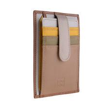 DuDu Unisex Porta carte di credito in pelle Safari multicolore con fettuccia