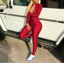Women Outfit Deep V-Neck Long Sleeve Body con Night Club Jumpsuit Rompers #J1