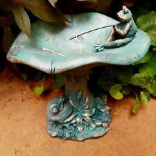 Outdoor Garden Decor Resin Frog Fishing Figurine Bird Bath or Feeder