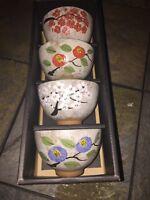Vintage TEAVANA Japan FOUR BRANCHES Wonton Sake Mugs Cups SET of 4 in BOX ❤️j8