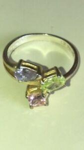 SU Cubic Zirconia Thailand Sterling Silver 925 RING Size 7 Yellow Green  Purple