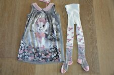 Monnalisa Girls Miss Bianca Dress and Tights Outfit Size 6 Italy!
