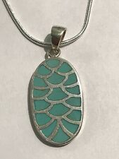 Beautiful Solid Sterling Silver Turquoise Inlay Pendant Necklace