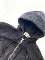 Princess Polly Women's Size 0 XS Black Jacket Cropped Corduroy Hoodie Short Coat
