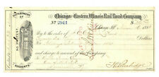 Chicago and Eastern Illinois Rail Road Company. Check 1883