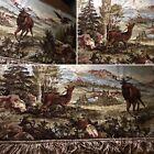 VILLAGE & DEER 🦌 SCENERY VINTAGE FRINGED RUG RUSTIC WALL HANGING TAPESTRY ART