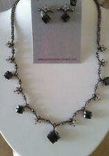 SPECIAL OCCASION & BRIDAL BLACK & CLEAR CUBIC ZIRCONIA NECKLACE & EARRING SET