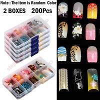 200x /Set Acrylic False Nail Tips Fake Nails Art Manicure Salon Random Color Lot