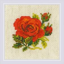 RIOLIS 1843  Rose rouge  Broderie  Point de croix compté  Aida