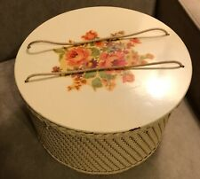Vintage White Wicker Princess Sewing Basket Box Flower Decal 1940's-50's Guc