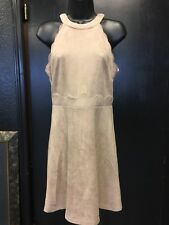 NWT Sugarlips Suede Faux Dress Shift Back Zipper Size Small Brand new Nude Beige
