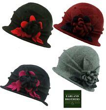 Ladies Wool Cloche Hat with Flower 100% Wool by Whiteley Fischer Super Soft Feel