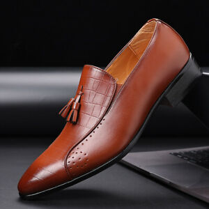Retro Men's Dress Formal Business Leisure Shoes Pointed Toe Work Office Tassel