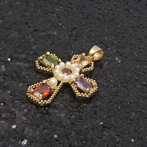 18K Gold Filled Stylish Italian Royal Imperial Gemstones Cross 18ct GF Pendant